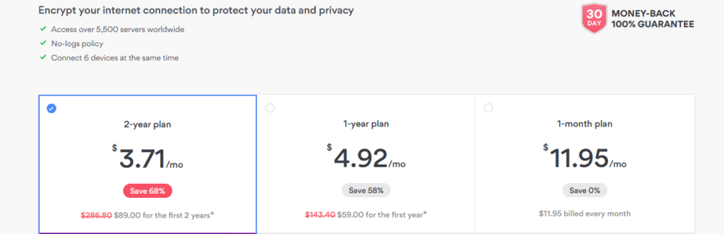nordvpn pricing packages